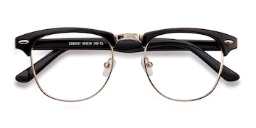 Black/Silver Coexist -  Vintage Metal Eyeglasses