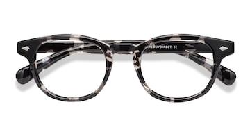 Gray Floral Atomic -  Colorful Plastic Eyeglasses