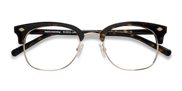 Dark Tortoise  Japan Morning -  Designer Acetate, Metal Eyeglasses