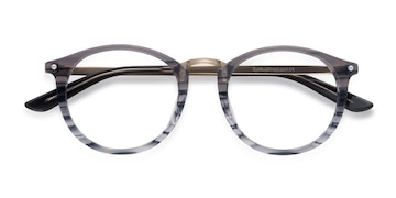 Gray Striped La Femme -  Vintage Acetate Eyeglasses