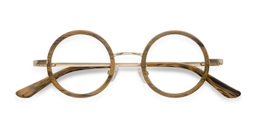 Brown Roaring -  Vintage Wood Texture Eyeglasses