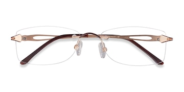 Golden/Brown Rivet -  Classic Metal Eyeglasses