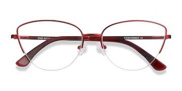 Burgundy Star -  Vintage Metal Eyeglasses