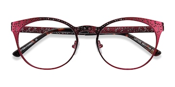 Red Purple Lattice -  Vintage Metal Eyeglasses