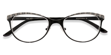 Black Gray Deco -  Vintage Metal Eyeglasses