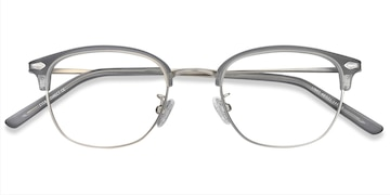 Matte Gray Links -  Vintage Metal Eyeglasses