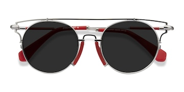 Silver Red Blockpop -  Acetate Sunglasses