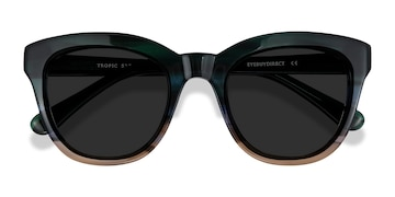 Green Striped Tropic -  Acetate Sunglasses