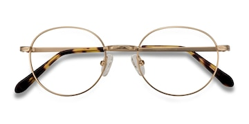 Golden Ledger -  Vintage Metal Eyeglasses