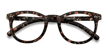 Black Floral Solar -  Plastic Eyeglasses