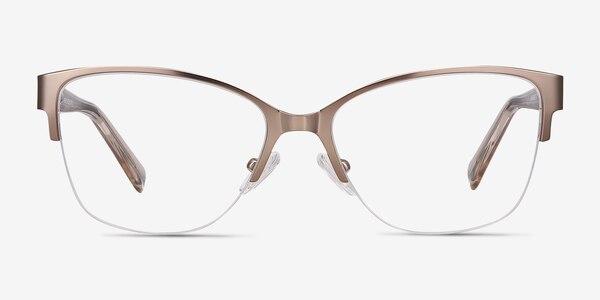 Feline Rose Gold Acetate-metal Eyeglass Frames