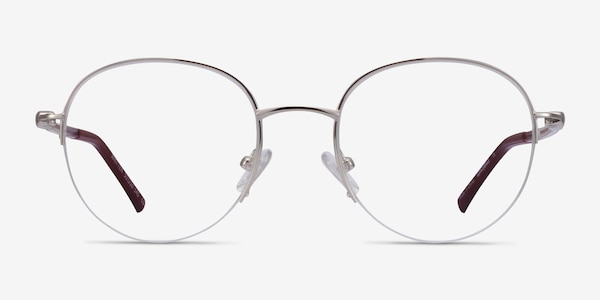 Written Silver Red Metal Eyeglass Frames