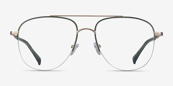 Universe Green Gold Metal Eyeglass Frames