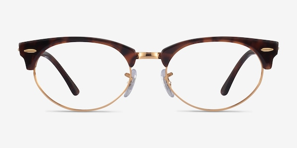 Ray-Ban Clubmaster Oval Tortoise & Gold Acetate Eyeglass Frames