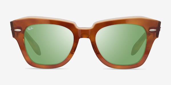 Ray-Ban State Street Havana On Transparent Beige Acetate Sunglass Frames