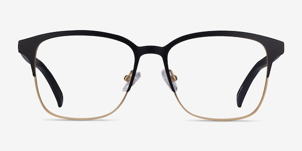 Intense Matte Black/Golden  Acetate-metal Eyeglass Frames