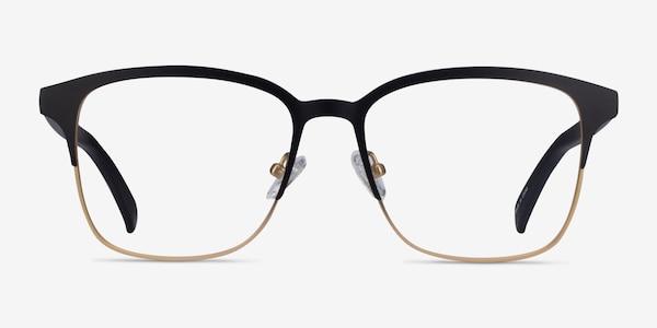 Intense Matte Black/Golden  Acetate-metal Eyeglass Frames