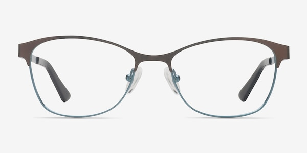 Sabrina Brown Blue Metal Eyeglass Frames