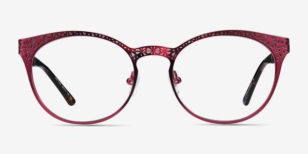 Lattice Red Purple Metal Eyeglass Frames