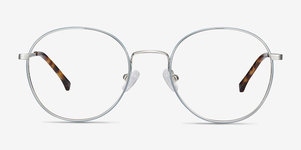 Progress Blue Silver Metal Eyeglass Frames