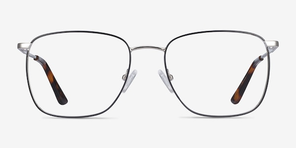 Reason Black Silver Metal Eyeglass Frames