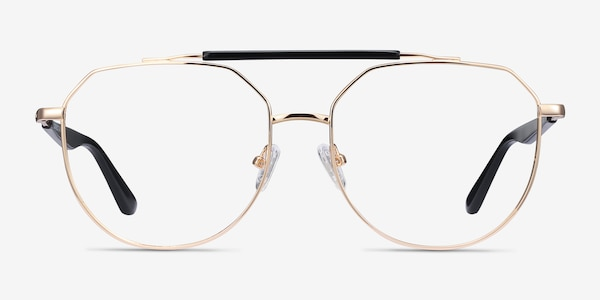 Coxon Golden Black Metal Eyeglass Frames