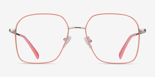 Arty Coral & Gold Metal Eyeglass Frames