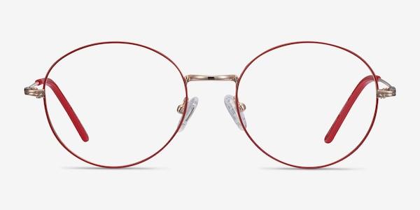 Arbus Red & Gold Metal Eyeglass Frames