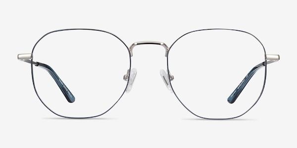 Ethan Navy & Silver Metal Eyeglass Frames