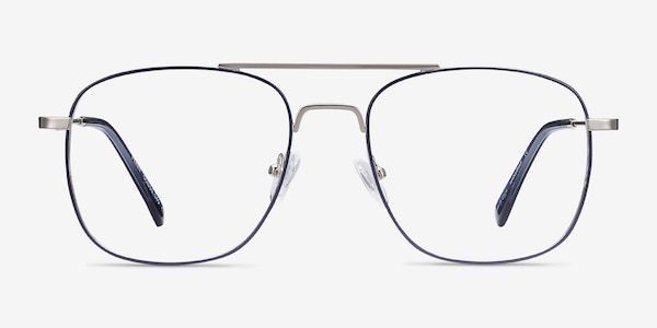 Perry Blue & Silver Metal Eyeglass Frames