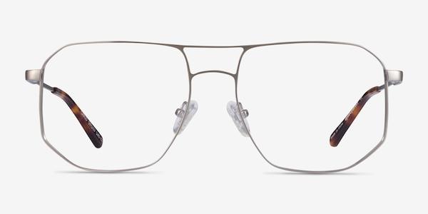 Carlo Brushed Silver Metal Eyeglass Frames