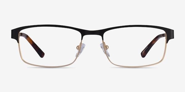 Quest Black Gold Metal Eyeglass Frames