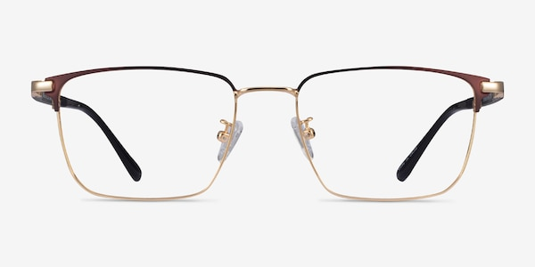 Abroad Brown Gold Metal Eyeglass Frames