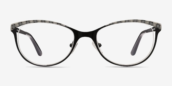 Deco Black Gray Metal Eyeglass Frames