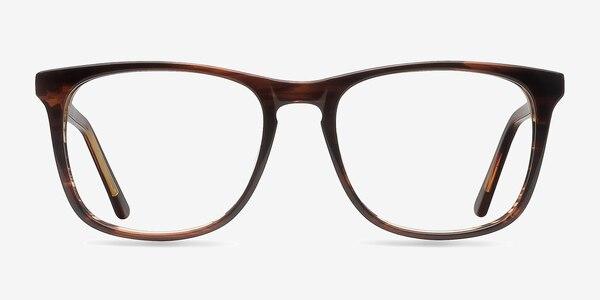 Skyline Brown Striped Acétate Montures de Lunette de vue