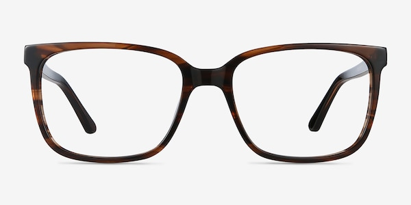 Formula Brown Striped Acetate Eyeglass Frames