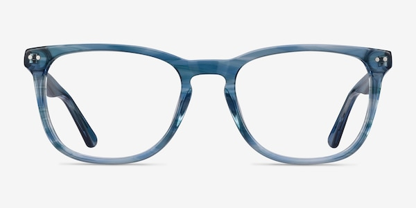 Gato Blue Striped Acetate Eyeglass Frames