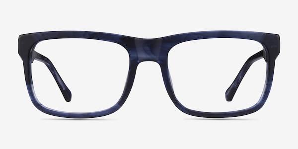 Ylem Matte Blue Striped Acetate Eyeglass Frames