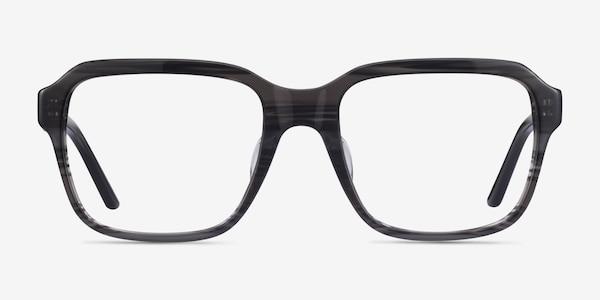Neat Striped Gray Acetate Eyeglass Frames