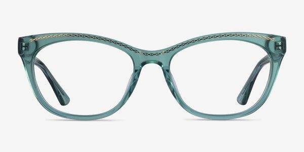 Arabesque Clear Green Gold Acetate Eyeglass Frames