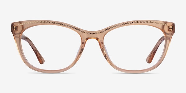 Arabesque Clear Orange Gold Acetate Eyeglass Frames