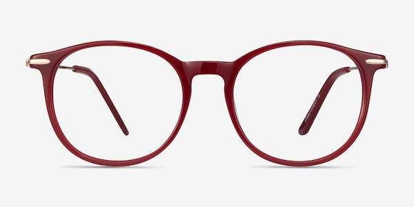 Quill Red Acetate-metal Eyeglass Frames