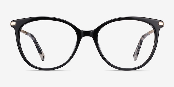 Attitude Black Acetate-metal Eyeglass Frames