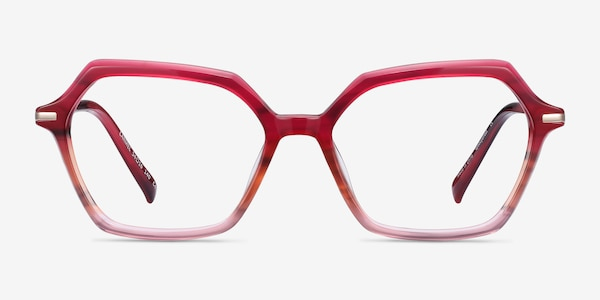 Carmel Raspberry Striped Acetate-metal Eyeglass Frames