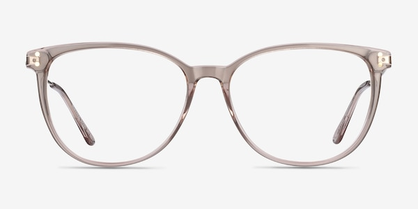 Nebulous Clear Brown Acetate-metal Eyeglass Frames