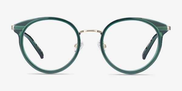 Jezzie Emerald Green & Gold Acetate-metal Eyeglass Frames