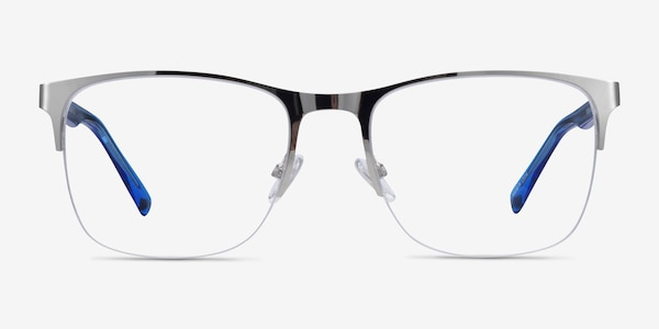 Emmerson Silver & Clear Blue Acetate-metal Eyeglass Frames