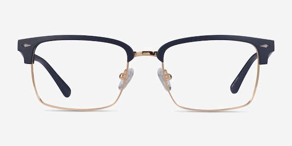 Renaissance Matte Blue & Gold Plastic Eyeglass Frames