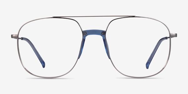 Subject Silver & Clear Blue Acetate-metal Eyeglass Frames