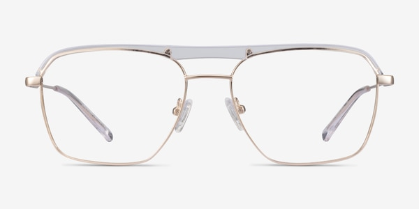 Dynamo Clear & Gold Acetate-metal Eyeglass Frames